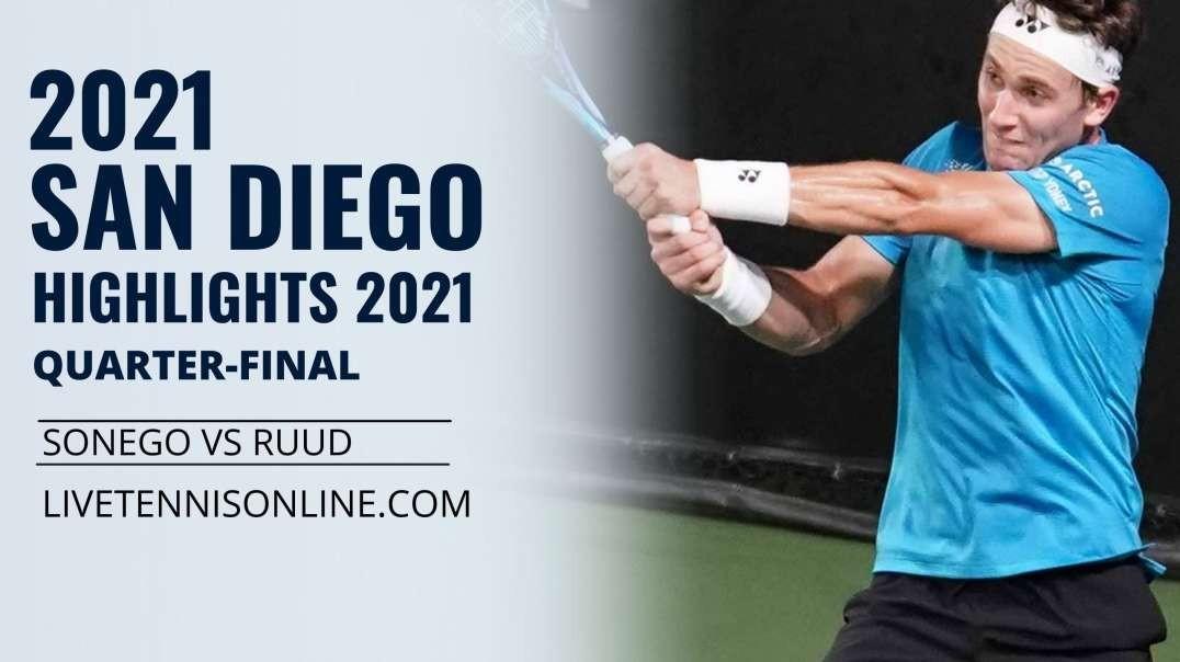 L. Sonego vs C. Ruud Q-F Highlights 2021 | San Diego Open